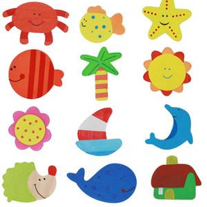 12pcs lot Fridge Magnets Stickers Colorful Wooden Animal Cartoon Fridge Stickers Wooden Cartoon Fridge Magnets VT0116