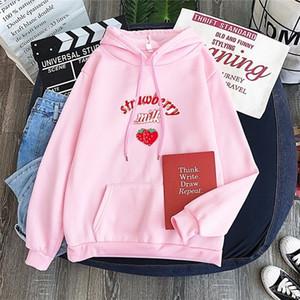Feliz bastante rosa linda fresa sudadera con capucha sudadera Harajuku leche gráfica con capucha pullovers School Girls Tracksuit LJ201014