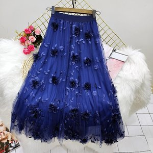 Skirts Summer Women Skirt Gauze Embroidery Flower Lady Sweet Mesh 2021 Spring Solid Color Female Casual Lace