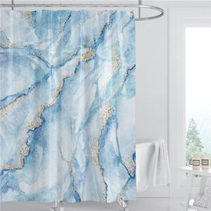 Marble Pattern Shower Curtain 180cm Polyester Fabric Waterproof Bathroom Decoration Summer 3D Printed Shower Curtain with Hook GWD5246
