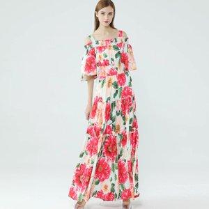 Women's Runway Dresses Spaghetti Straps Slash Neckline Floral Printed Tiered Ruffles Elegant Long Maxi Dresses