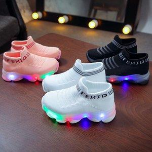 Kids Sneakers Children Baby Girls Boys Letter Mesh Led Luminous Socks Sport Run Sneakers Shoes Sapato Infantil Light Up Shoes 210306