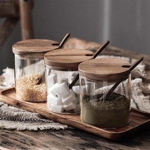 Küchengewürzglasglas-Gewürzbehälter Salzgläser-Gewürztopf mit Deckel und Löffel Kitchen-Speicher-Jar 1PCl0219