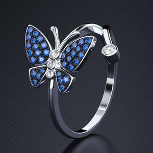 HBP Fashion Saidaibao Blue Butterfly Ring Женская бриллиант Медная платина Platinum Простое изысканное Zircon Ручная Ювелирные Изделия