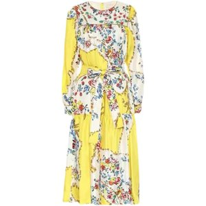 European and American spring and summer catwalk loose version yellow print holiday dress