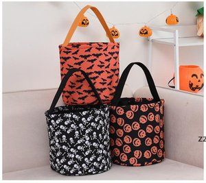 Halloween Trick or Treat Bag Party Supplies Bucket Gift Bags for Candy Festival Skeleton Pumpkin Orange Background with Black Handle HWA8528