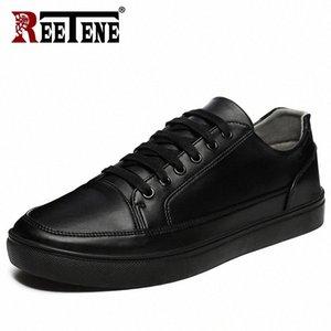 Réétuème 2019 Chaussures décontractées Hommes Cuir Appartements Flats à lacets Chaussures Hommes Casual Mode Sneakers En Cuir Confortable Plat O861 #