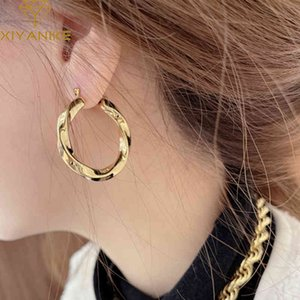 Xiya 925 Sterling Sier Golf Twist Circle Earring Female Bright All-match Temperament Handmade Gift Accessories
