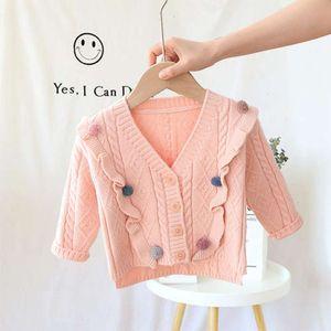 girls' Korean 2020 winter knitwear baby children's lovely solid color long sve V-Neck sweater WSYH