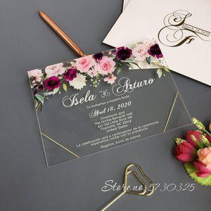 Wedding Acrylic invitations personalized faire part mariage invitation de boda wedding cards acrylic invitations wholesale