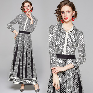 2021 Spring Vintage Printed Dresses Autumn Long Sleeve Women's Elegant Dress Designer Party Prom Evening Dress Slim Office Ladies Dress