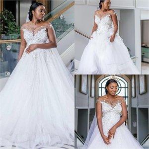 African Plus Size Wedding Dresses Bridal Gowns Off The Shoulder Sheer Neckline Lace Appliqued Beading Formal Sweep Train Bride vestido de novia