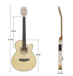 Guitar Acoustic Electric 6 Steel-String Thin Body Wood Color Flattop Balladry Folk 40 Inch Guitarra Higgloss Cutaway Electro