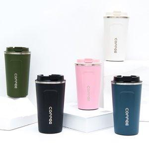 380ml / 500 ml Kahve Kupalar Termos Şişesi Bira Paslanmaz Çelik Su Şişesi Kapak Tumbler Sızdırmaz Drinkware Seyahat Vakum Bardak