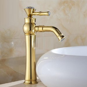 Basin Faucets Modern Gold Color Deck Mounted Bathroom Mixer Faucets Black Finish With Diamond High Bathroom Sink Faucet