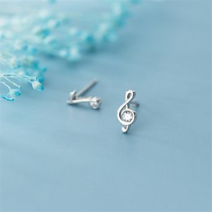 925 Sterling Silver Zircon Music Note Stud Boucles d'oreilles pour femmes Rose Gold Boucles d'oreilles Asymétriques Bijoux de mariage