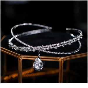 Vintage Crystal Bridal Hair Accessory Wedding Rhinestone Waterdrop Leaf Tiara Crown Headband Necklace Bridesmaid Clasp jllIWw