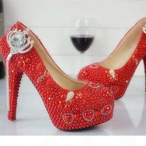 Большой размер US 12 Red Pearl Bride Dress Tover Bandmade Rhinestone Свадебные туфли Ночной клуб Party Prom Prom Pumps Red BrideMaid обувь