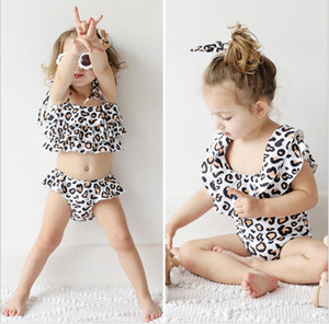 Girls' and children's summer white background leopard pattern swimsuith eadband split one-piece swimsuit tw o sets Maternity