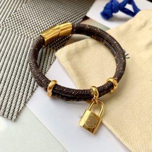 2020 new men's and women's bracelet high quality brand double leather lock pendant bracelet men's and women's gift bracelet packing box