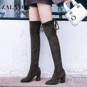 Zalavor 2020 Frauen über dem Knie Hohe Stiefel Huf Heels Winter Schuhe Frauen Warme sexy Dame Elastische Stoffstiefel Größe 34 43 Chukka Boots P5ft #