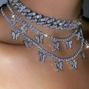 الطبقات قلادة القلائد الحيوان فراشة المختنق الأزياء والمجوهرات للنساء مثلادة خارج سلسلة الهيب هوب قلادة هدية عيد الحب 76 U2
