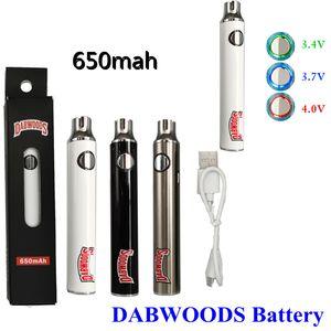 Dabwoods 510 Hilo Batería Precalentamiento Vape Pen Batería 650mAh Vaporizador Batería Variable Voltaje USB Cable Cargador Vape Baterías