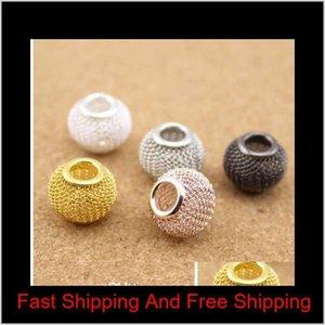 10pcs lot Gold silver rose Gold rhodium gunmetal Color Big Hole Mesh Spacer Beads Fits European Bracelet Je jllokY warmslove