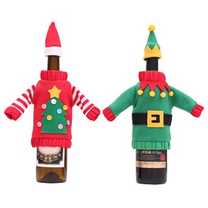 Christmas Decorations Wine Bottle Cover Champagne Sweater New Year Xmas Home Dinner Party Table Ornament GWB10639