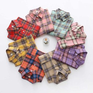 Brand Women's Flannel Plaid Shirts Ladies Tops Exquisite Designer Style Loose Blouses Casual Cotton Long Sleeve Blouse