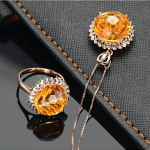 Earrings & Necklace 2021 Trendy Yellow Zircon Ring Jewelry Set Clear CZ Crystal Engagement Design Female Wedding 2