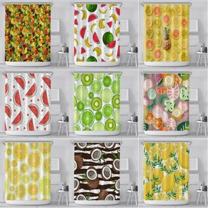 Summer Shower Curtain 180*180cm Digital Lemon Watermelon Fruit Printed Shower Curtains with Ring Polyester Waterproof Bathroom Decoration