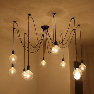 Siyah Vintage Örümcek Sarkıt Asılı Avize Uzunluğu Ayarlanabilir Retro Lamba Kafası Klasik Tavan Lambası Fikstür Işık 706 K2
