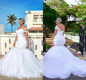 Plus Size Mermaid Wedding Dresses African One Shoulder Ruched Beaded Sexy Open Back With Button Sweep Train Bridal Gowns