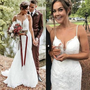 2021 Lace Mermaid Wedding Dresses with Spaghetti Straps Sweep Train Custom Made Plus Size Country Wedding Gown vestido de novia