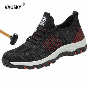 Vausky Güvenlik Çalışma Ayakkabı Çizme Erkekler Için Erkek Koruyucu Çelik Burun Boots Anti Smashing Yıkılmaz Ayakkabı Yapı Sneakers R9QP #