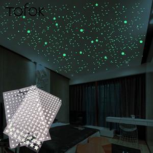 Tofok Bubble 3D 202pcs / Set Stars Dots Pegatina de pared luminosa DIY Dormitorio DISPONISTRADA DE LOS NIÑOS DE LA SALUDA DE LA SALA GURAL EN DARCA FLUORESCENTE Decoración del hogar