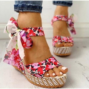 Summer 2021 New Beach Boho Floral Wedge Sandals Women Ankle Strap Platform Gladiator Shoes Woman High Heels Sandalias Mujer 2021