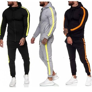 Men Clothes Set Hot New Muscle Mens Zipper Shirt Hooded Stitching Sweater Men's Casual Sports Suit Men Clothing Sets