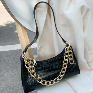 Fashion All-match Women's Shoulder Bag Crocodile Pattern Underarm Bag Temperament Chain Handbag Trend Zipper Bags for Women 2021