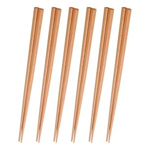6 Pairs Reusable Chopsticks, Natural Wood Eating Chinese Cooking Chopsticks