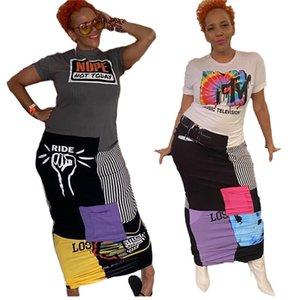 Свободные женские дизайнерские повседневные платья мода пэчворк плюс размер с коротким рукавом женская одежда лето o шеи женщины длинные платья