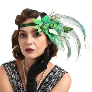 Mujeres 20s Flapper Fascinator Headband Butterflies Avestrich Feather Fiesta Bandana