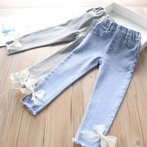 Kids Jeans Girls Jeans Baby Trousers Denim Soft Skinny Pants Lace Bowknot Toddler Clothes Kids Clothing 2-6Y B3884