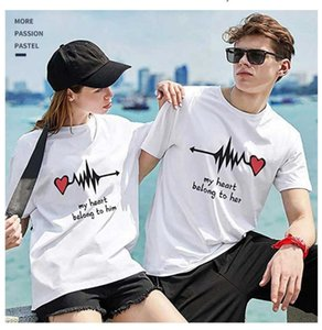 Heart beating Fashion and comfortable cotton round collar couple T-shirt half sleeve shirt summer beach short sleeve T-shirt family