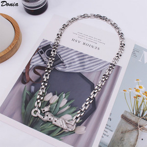 Donia jewelry European and American fashion leopard with zircon 8mm wide Necklace wedding jewelry men's banquet set decoration gift