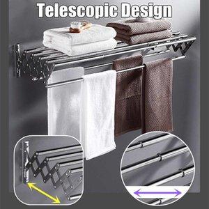 Banheiro de aço inoxidável dobrável Toalheiro de toalhas de armazenamento de toalhas 2 camadas de parede Hanger expansível Toalha de toalha / prateleira de roupa
