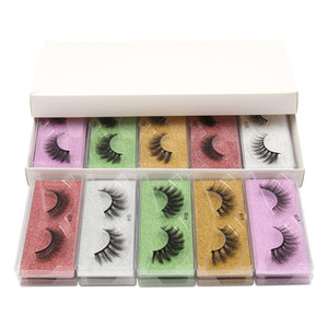 3D Mink Color Eyelash Packaging Box 5 Diffetent Color Bottom Card Eyelase Cases Makeup Eye Lash Packaging Box 10 styles DHL