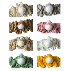 2Pcs Baby Wool Ball Hat Knitted Wrap Blanket Set Newborn Photography Photo Props