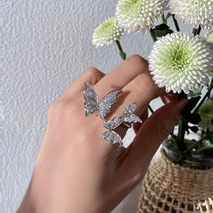 Cluster Rings Cute Female Small Butterfly Animal Ring Real 925 Sterling Silver Adjustable Promise Open Engagement For Women